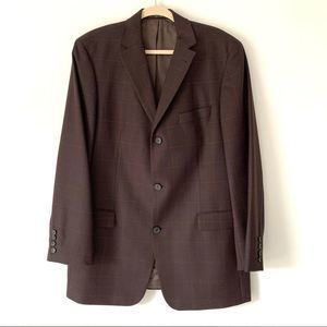 Hugo Boss 42L 3 Button Plaid Rossellini Blazer